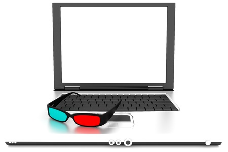 3 d glasses: Stereo 3D glasses on laptop. Red cyan anaglyph