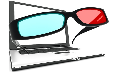 3 d glasses: Stereo 3D glasses and laptop. Red cyan anaglyph Stock Photo