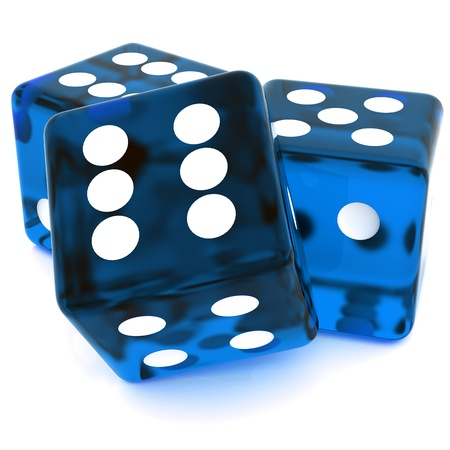 game of chance: 3D Blue rolling dice on white background Stock Photo