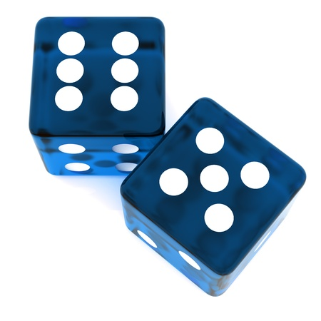 3D Blue rolling dice on white background Stock Photo