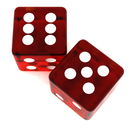 rolling dice: 3D Red rolling dice on white background