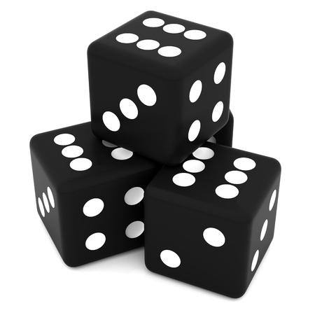 3D black rolling dice on white background