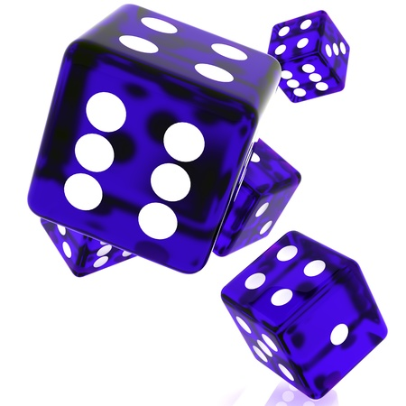 3D violet rolling dice on white background Stock Photo