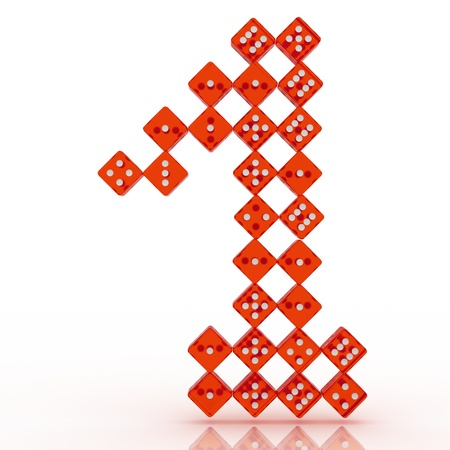 refractive: Dice font letter 1. Red refractive dice on white background.