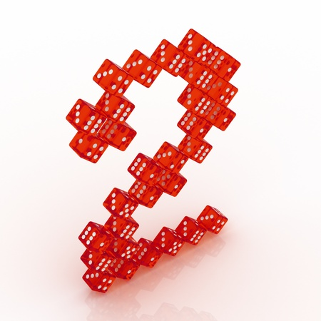 refractive: Dice font letter 2. Red refractive dice on white background.