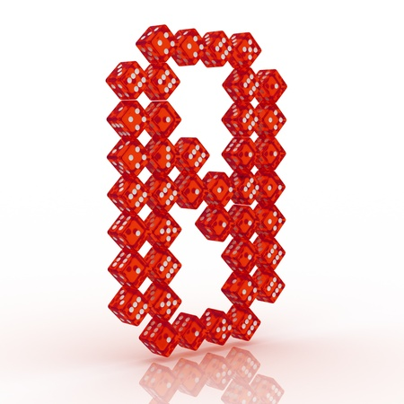 refractive: Dice font letter 8. Red refractive dice on white background.