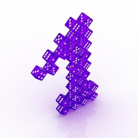 refractive: Dice font letter 1. Violet refractive dice on white background.
