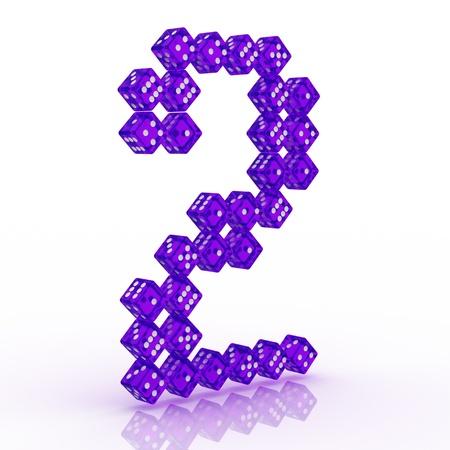 refractive: Dice font letter 2. Violet refractive dice on white background.