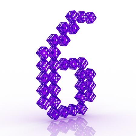 refractive: Dice font letter 6. Violet refractive dice on white background.