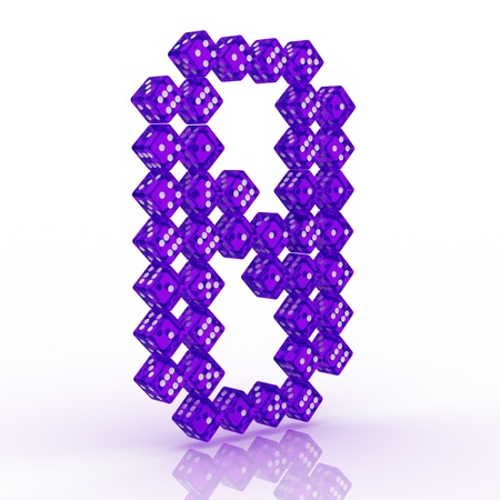 refractive: Dice font letter 8. Violet refractive dice on white background. Stock Photo