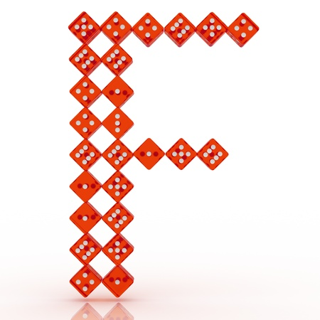 refractive: Dice font letter F. Red refractive dice on white background. Stock Photo