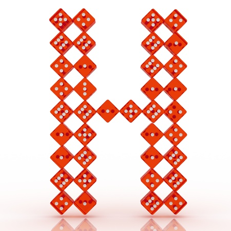 refractive: Dice font letter H. Red refractive dice on white background. Stock Photo