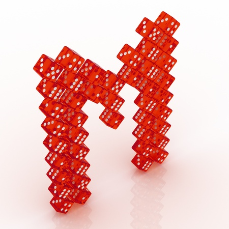 refractive: Dice font letter M. Red refractive dice on white background.