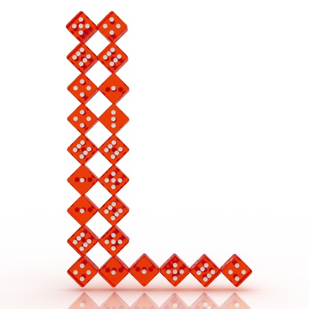 l red: Dice font letter L. Red refractive dice on white background. Stock Photo