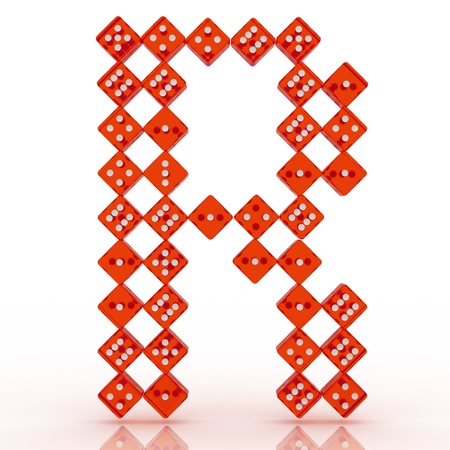 refractive: Dice font letter R. Red refractive dice on white background.