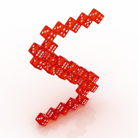 refractive: Dice font letter S. Red refractive dice on white background.