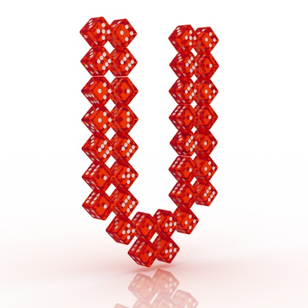 refractive: Dice font letter V. Red refractive dice on white background. Stock Photo