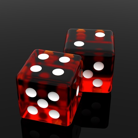 3D Red rolling dice on  black background