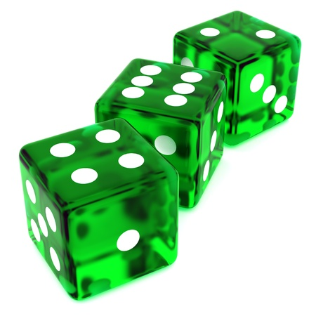 3D Green rolling dice on white background