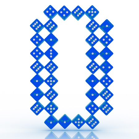 refractive: Dice font letter 0. Blue refractive dice on white background.