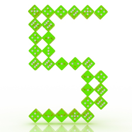 refractive: Dice font letter 5. Green refractive dice on white background. Stock Photo