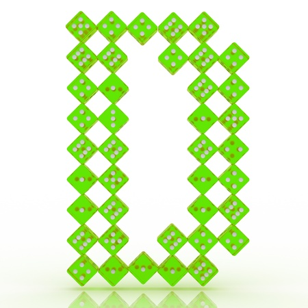 refractive: Dice font letter D. Green refractive dice on white background. Stock Photo