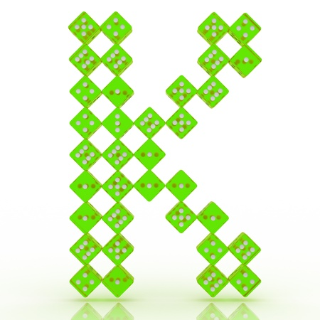refractive: Dice font letter K. Green refractive dice on white background.