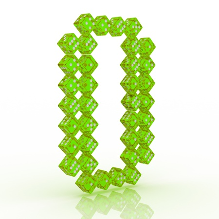 refractive: Dice font letter O. Green refractive dice on white background.