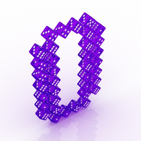 refractive: Dice font letter O. Violet refractive dice on white background. Stock Photo
