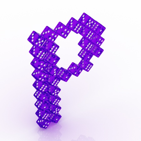 refractive: Dice font letter P. Violet refractive dice on white background.