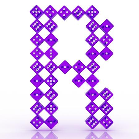 refractive: Dice font letter R. Violet refractive dice on white background.