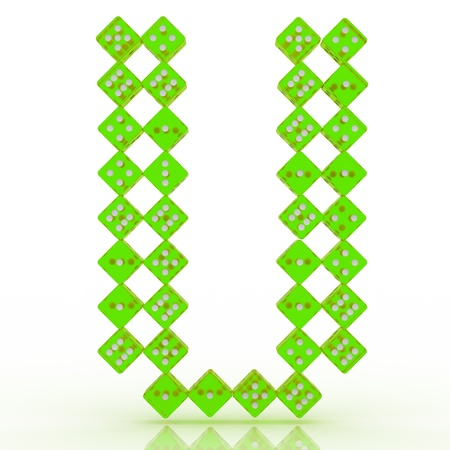 refractive: Dice font letter U. Green refractive dice on white background.