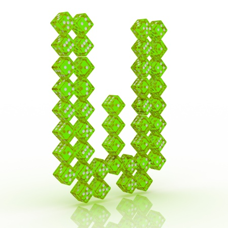 refractive: Dice font letter W. Green refractive dice on white background.