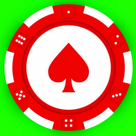 poker game: Colorful casino chips isolated over green background