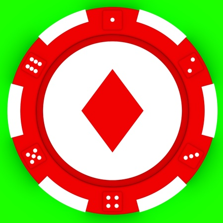 Colorful casino chips isolated over green background photo