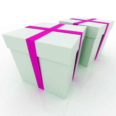 3D render of a gift box over white photo