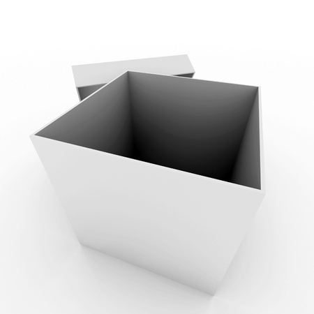 opened: 3D render of an open solid box