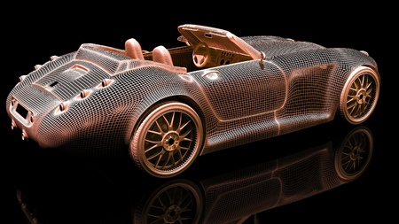 Color wire 3d model of sport car