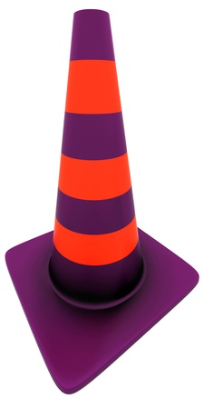 Traffic cone over white background. 3D Render photo