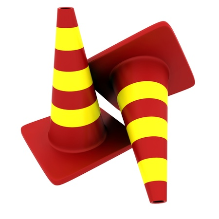 Traffic cones over white background. 3D Render photo