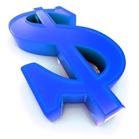 prosper: 3d US Dollar symbol over white background