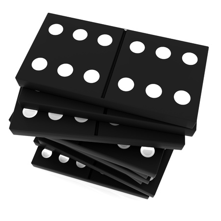 3D rendered domino isolated on white background photo