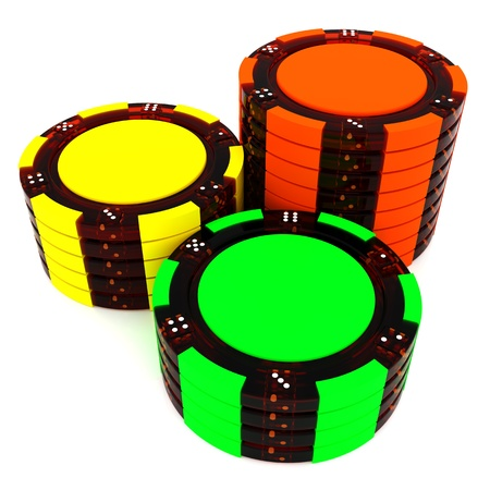 chips stack: Stacks of Poker Chips stack. 3d isolated on white