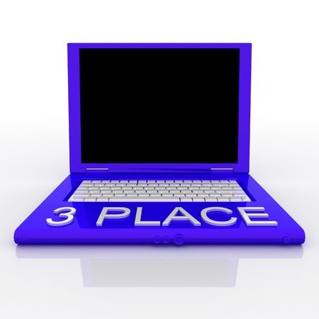 techie: 3D blank laptop computer with 3 place word on it Stock Photo