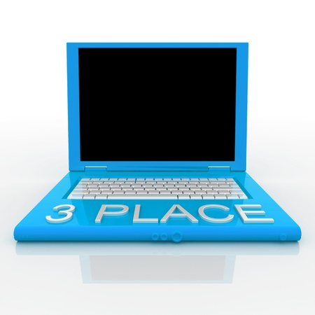 3D blank laptop computer with 3 place word on it Stock Photo - 9921079