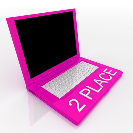 3D blank laptop computer with 2 place word on it Stock Photo - 9921075