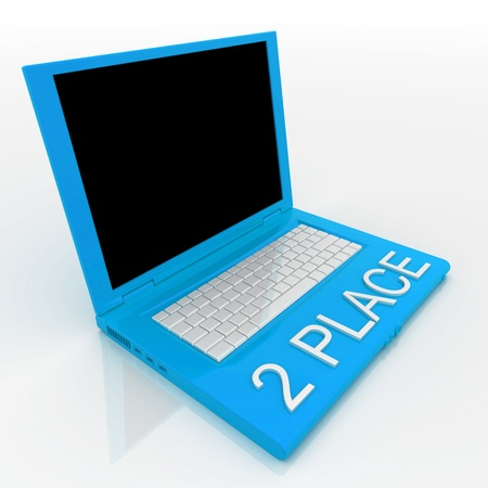 3D blank laptop computer with 2 place word on it Stock Photo - 9921083