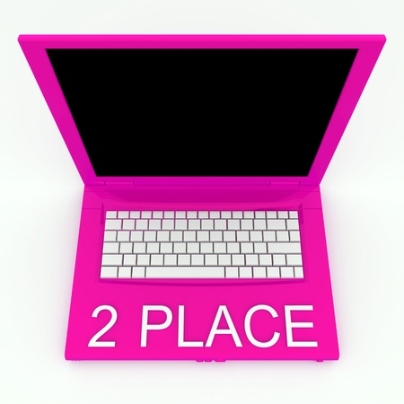 3D blank laptop computer with 2 place word on it Stock Photo - 9921072