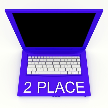 3D blank laptop computer with 2 place word on it Stock Photo - 9921069