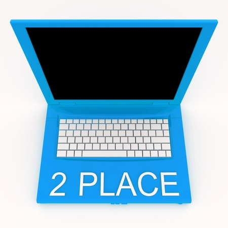 3D blank laptop computer with 2 place word on it Stock Photo - 9921082